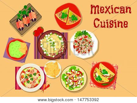 Mexican cuisine spicy salad and snack icon with guacamole with nacho, beef tortilla, chorizo salad taco, bacon date tapas, seafood salad, salmon ceviche on tortilla, meat and vegetable salads