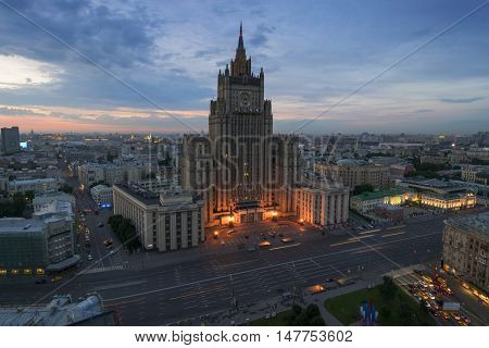 Ministry of Foreign Affairs building (Stalin skyscraper) during summer morning in Moscow, Russia