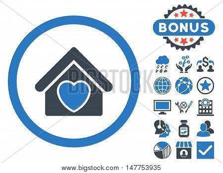 Hospice icon with bonus symbols. Vector illustration style is flat iconic bicolor symbols, smooth blue colors, white background.