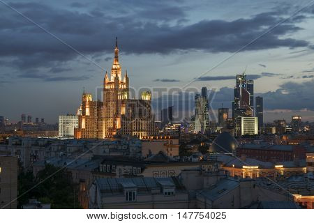 Residential building on square Kudrinskaya (Stalin skyscraper) at night in Moscow, Russia