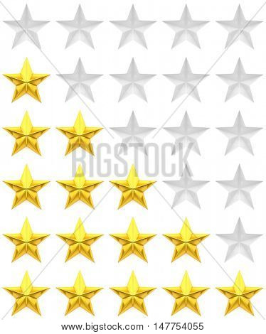 Zero to five star review or rating - 3d rendering