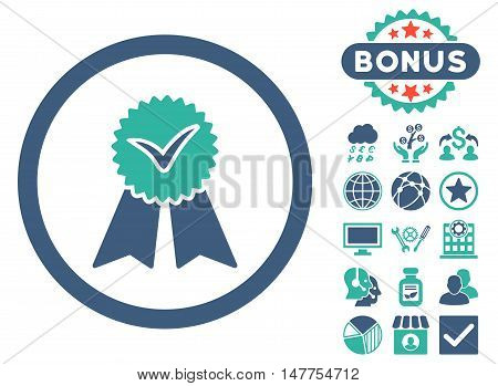Approvement Seal icon with bonus pictogram. Vector illustration style is flat iconic bicolor symbols, cobalt and cyan colors, white background.