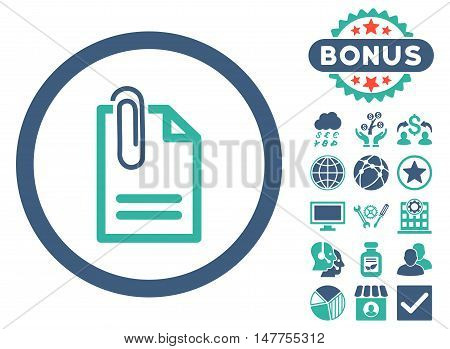 Attach Document icon with bonus pictures. Vector illustration style is flat iconic bicolor symbols, cobalt and cyan colors, white background.