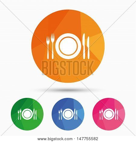 Plate dish with forks and knifes. Eat sign icon. Cutlery etiquette rules symbol. Triangular low poly button with flat icon. Vector