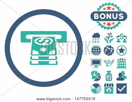 Bank Cashpoint icon with bonus symbols. Vector illustration style is flat iconic bicolor symbols, cobalt and cyan colors, white background.
