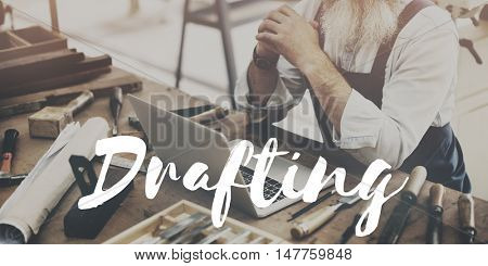 Man Working Crafting Project Design Concept