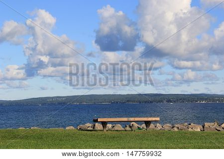 A park bench overlooking Little Traverse Bay in Petoskey, Michigan