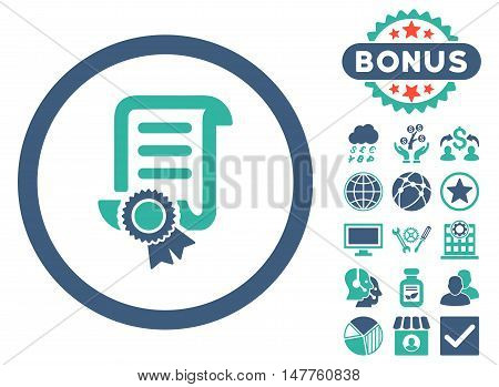 Certified Scroll Document icon with bonus design elements. Vector illustration style is flat iconic bicolor symbols, cobalt and cyan colors, white background.