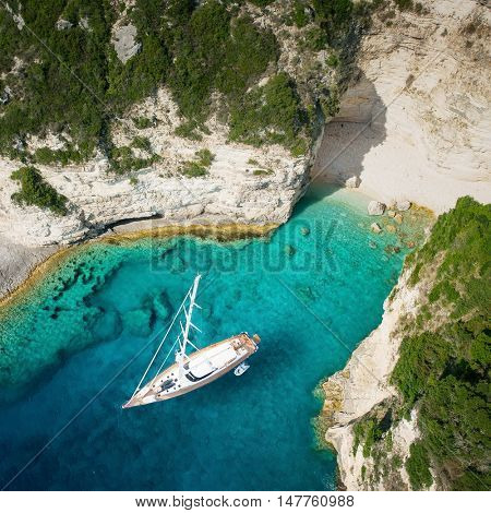 Luxury yacht in amazing bay of pure Greece Sea