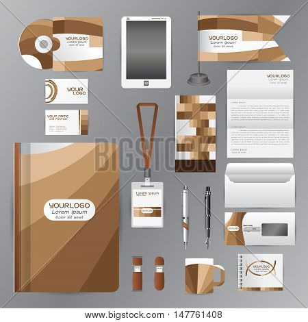 White corporate identity template with brown origami elements. Vector company style for brandbook guideline and Pens mugs CDs books business cards letterhead flag Card Portfolio employees Tablet flash drive
