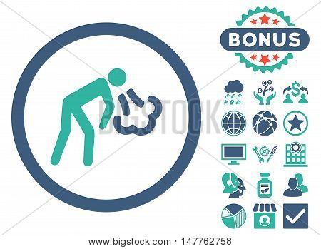 Cough icon with bonus symbols. Vector illustration style is flat iconic bicolor symbols, cobalt and cyan colors, white background.