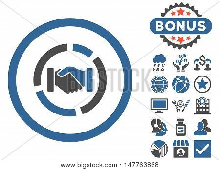 Acquisition Diagram icon with bonus symbols. Vector illustration style is flat iconic bicolor symbols, cobalt and gray colors, white background.