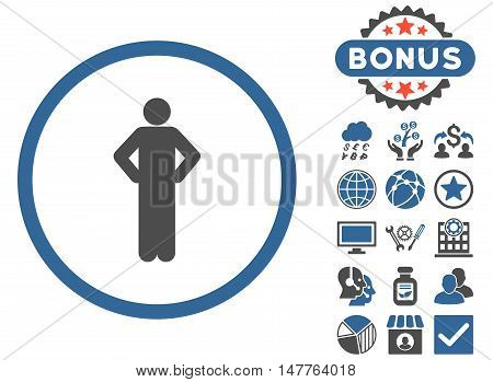 Akimbo icon with bonus pictures. Vector illustration style is flat iconic bicolor symbols, cobalt and gray colors, white background.