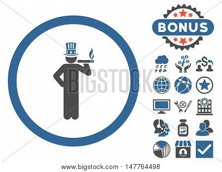 American Capitalist icon with bonus images. Vector illustration style is flat iconic bicolor symbols, cobalt and gray colors, white background.
