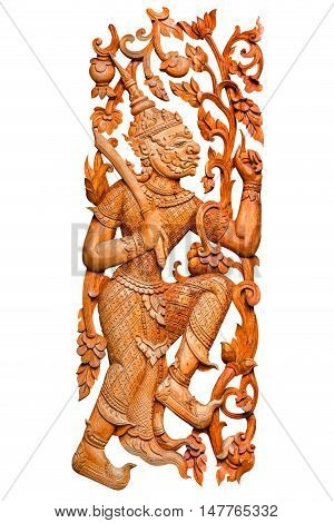 Traditional thai style pattern king of giant or ravana wood carved on white background