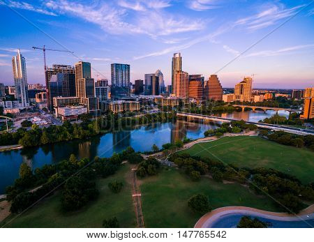 Golden Hour Aerial Sunset in the Capital Cities downtown Auditorium Shores Park Downtown Skyline Cityscape central texas bliss