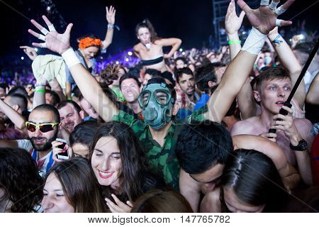 BUDVA- JULY 16 2015: CROWD IN FRONT OF THE MAIN STAGE AT SEA DANCE FESTIVAL 2015 MUSIC FESTIVAL JULY 16 2015 IN BUDVA JAZ BEACH MONTENEGRO