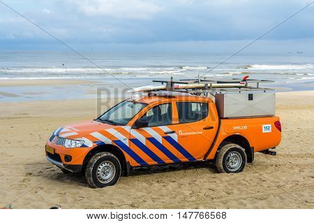 Kijkduin beach the Netherlands - September 17 2016: surf life saving vehicle on the beach