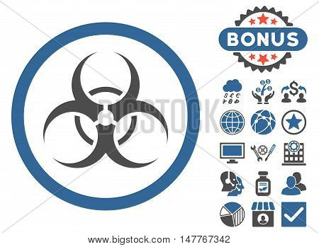 Biohazard Symbol icon with bonus images. Vector illustration style is flat iconic bicolor symbols, cobalt and gray colors, white background.