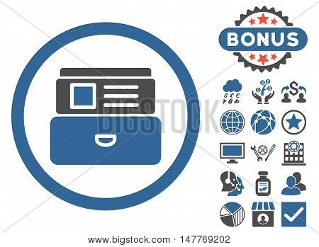 Catalog icon with bonus elements. Vector illustration style is flat iconic bicolor symbols, cobalt and gray colors, white background. poster