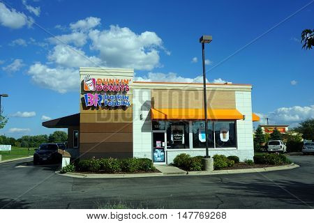 PLAINFIELD, ILLINOIS / UNITED STATES - SEPTEMBER 17, 2016: People may eat Baskin Robbins' ice cream, and Dunkin' Donuts' doughnuts, in Plainfield.
