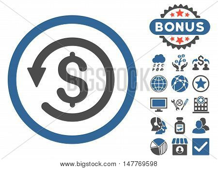 Chargeback icon with bonus images. Vector illustration style is flat iconic bicolor symbols, cobalt and gray colors, white background.