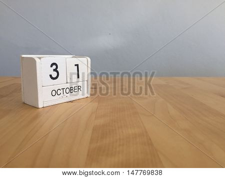 October 31St .october 31 White Wooden Calendar On Vintage Wood Abstract Background.autumn Day.copysp