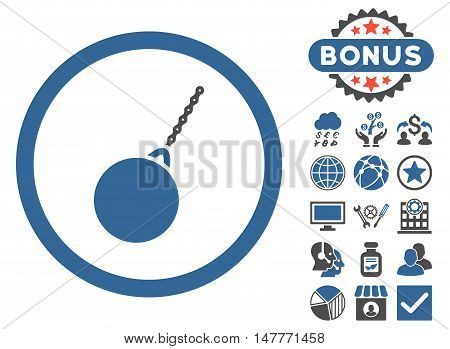 Destruction Hammer icon with bonus images. Vector illustration style is flat iconic bicolor symbols, cobalt and gray colors, white background.