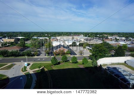 JOLIET, ILLINOIS / UNITED STATES - SEPTEMBER 3, 2016: A view of the west side of Joliet, Illinois, as seen from the seventh floor of the Presence Saint Joseph Medical Center.