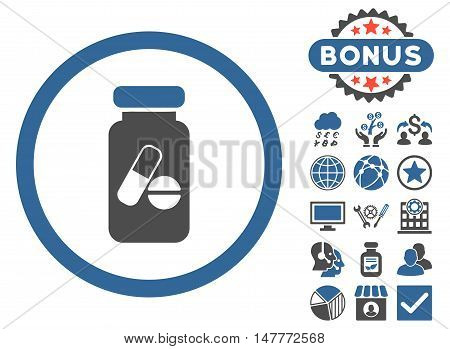 Drugs Phial icon with bonus symbols. Vector illustration style is flat iconic bicolor symbols, cobalt and gray colors, white background.