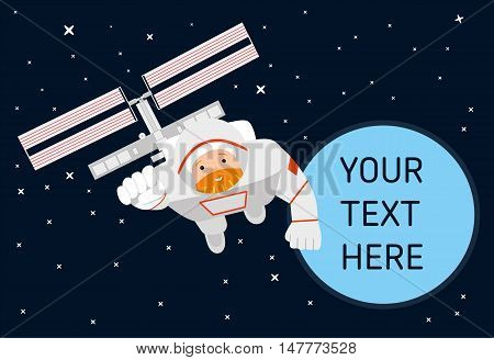 flying astronaut in the pose of a superhero in the background of the space station and the planet