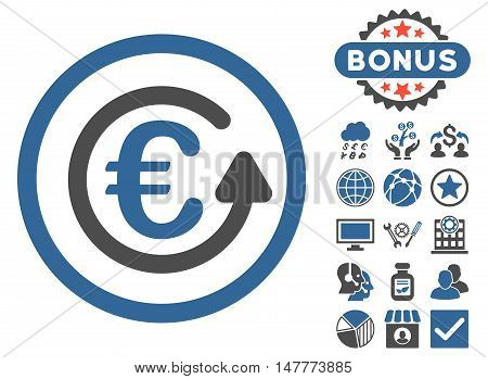 Euro Chargeback icon with bonus images. Vector illustration style is flat iconic bicolor symbols, cobalt and gray colors, white background.