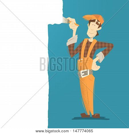 Young happy smiling man painter painting a wall using paintbrush. Flat web color illustration.