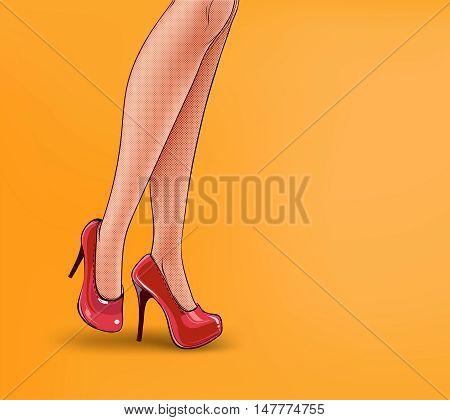 Vector pop art illustration of female legs, shod in high-heeled shoes