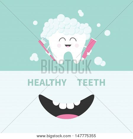 Tooth holding toothpaste and toothbrush. Bubbles foam. Smiling mouth. Banner set. Cute cartoon character. Children teeth care icon. Oral dental hygiene Tooth health. Baby background Flat design Vector