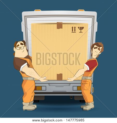 Transportation and delivery company illustration. Two workers mover man loading and unloading big heavy carton cardboard box from a truck. 3d color vector creative concept with characters.