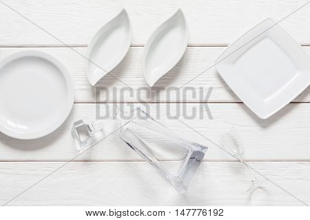 Empty plates on white background, void, flat lay. Mockup for any cuisine meals, snacks for vodka concept