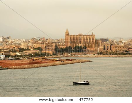 Palma  Cathedral In Setting Sun