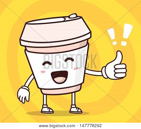 Vector Illustration Of Color Smile Take Away Coffee Cup With Thumb Up On Yellow Background. Creative