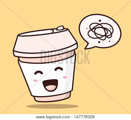 Vector Illustration Of Color Smile Takeaway Coffee Cup With Bubble Speech On Yellow Background. Crea