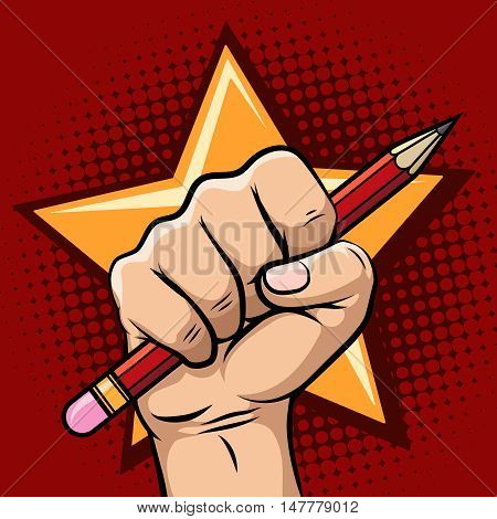 Hand holding pencil old school style vector revolution, propaganda or speech freedom concept