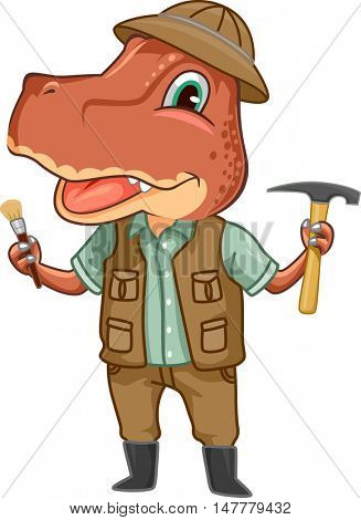 Dinosaur Illustration of a Tyrannosaur Dressed Like a Paleontologist Carrying a Hoe and a Brush
