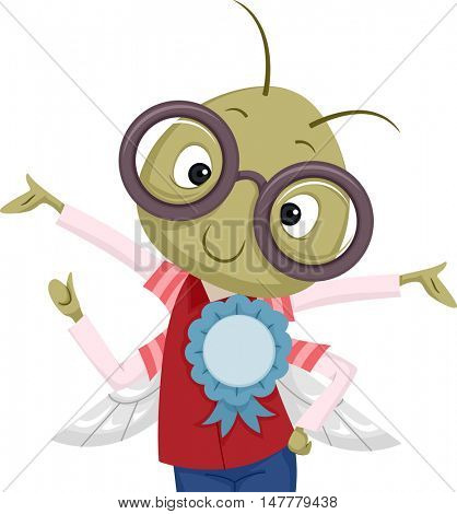Illustration of a Nerdy Bug in Glasses with a Ribbon Pinned to its Shirt