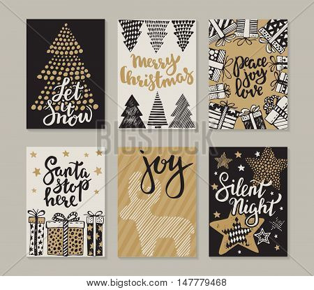 Collection of six Christmas cards. Greeting card set with hand drawn xmas tree, presents, stars, deer. Includes holiday handwritten lettering. Posters set. Colorful vector illustration