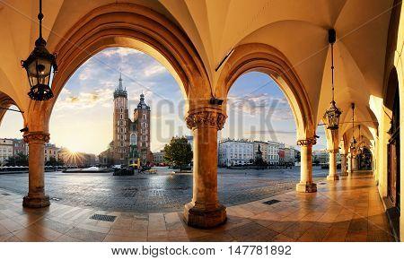 Krakow at a sunrise Poland, panoramic view.