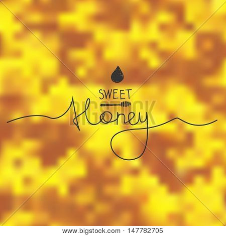 Blurred yellow vector background with lettering. Honey.