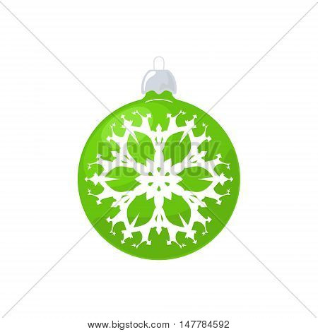 Christmas Green Ball, Ball with Snowflake Isolated on White Background , Christmas Tree Decoration, Merry Christmas and Happy New Year, Vector Illustration