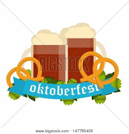 Oktoberfest celebration with two beer mugs. Oktoberfest beer banner festival pub sign symbol germany bavaria design. Oktoberfest glass beer festival banner party bar traditional culture.