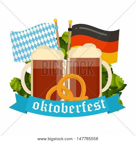 Oktoberfest celebration poster. Oktoberfest text. Beer Oktoberfest German festival keg of beer bottle beer. Festive Oktoberfest Banners Headers with Beer Wurst Flag and Pretzel.