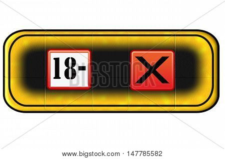 Web Button for age restriction with symbol 18 Years -